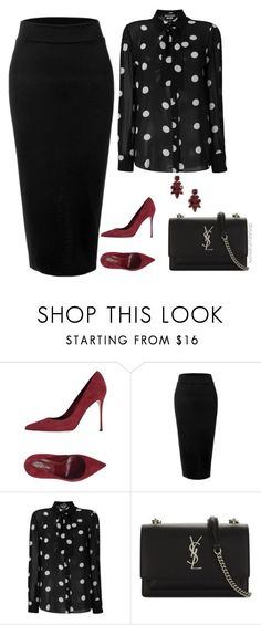 """Work Wear"" by stylebyshannonk ❤ liked on Polyvore featuring Sergio Rossi, LE3NO, Boutique Moschino and Yves Saint Laurent"
