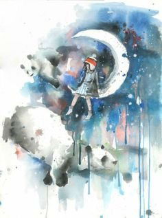 pandas and a girl on the moon