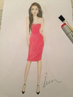 #fashionsketch #fashionillustration  #fashionillustrator #copicmarkers #promarker #copic #turkey #prints #drawing #fashion #happy #amateurdrawings #beginner #red #mei.