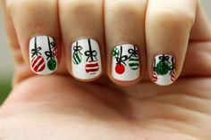 These Christmas ornament nails are such lovely decorations. | 24 Delightfully Festive Ways To Do Your Nails For The Holidays