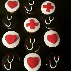 Nurse cupcakes #fondantcupcakes #nursecupcakes Nurse Cupcakes, Fondant Cupcakes, Nursing Graduation Cakes, Sweet Cakes, Nurses, Desserts, Food, Tailgate Desserts, Registered Nurses