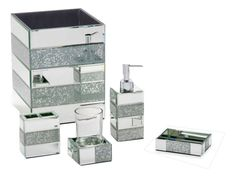Artistic Rhinestone Bathroom Accessories Bella Lux Mirrored At ...