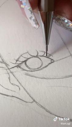 Girl Drawing Sketches, Art Drawings Sketches Simple, Pencil Art Drawings, Cute Drawings, Art Drawings Beautiful, Diy Canvas Art, Cartoon Art Styles, Art Sketchbook, Aesthetic Art