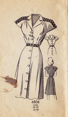 d787992829993 1940s Misses Shirt Dress Vintage Sewing Pattern Abiti Anni  40