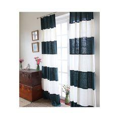 エコファインカーテン 横縞 ホワイトとネイビー 麻 断熱・省エネカーテン(1枚)-844