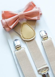 SHIPS SAME DAY!** Suspenders Bow Tie -- Peach Bow Tie - Beige Suspenders / Tan Suspenders -- Ring Bearer Outfit