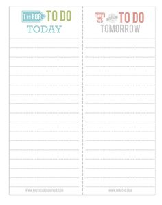 To-Do list printable - like that it's for two days!