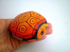 Orange Turtle Painted Rock Home Garden Decor paper by ShebboDesign, $24.00