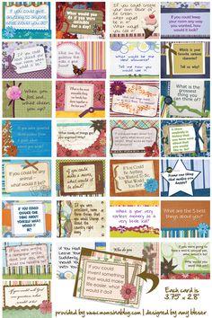 Family Dinner Conversation Starter Cards - Compliments of HomemakersHutch.com