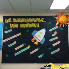Inspired by another board...a motivator for FCAT! 2nd Grade Teacher, 2nd Grade Math, Fifth Grade, Middle School Classroom, Classroom Management, Classroom Decor, Bulletin Boards, Banner Ideas, Class Room