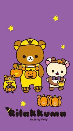 Rilakkuma Wallpaper, Sanrio Wallpaper, Kawaii Wallpaper, Iphone Wallpaper, Cute Characters, Fictional Characters, New Sticker, Halloween 2, Halloween Wallpaper