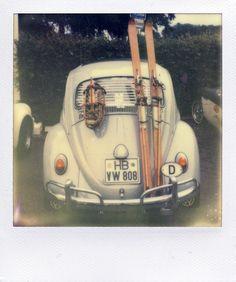 vintage VW w/ ski rack