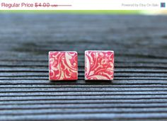 SALE Pink and White Upcycled Wooden Tile Stud by hempkitty on Etsy, $3.20
