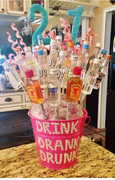21st Birthday Nip bottle  Bouquet Bucket (christmas drinks alcohol)