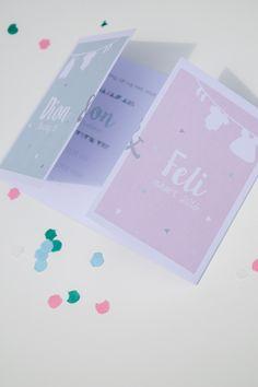 Tweeling geboortekaart Dion & Feli - ontwerp door Leesign #leesign #tweeling #twins #geboortekaart #birthannouncement# #fairepart #naissance #tweelingkaart #mint #roze Twins, Future, Cards, Save The Date Cards, Future Tense, Twin, Gemini, Twin Babies