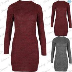 Womens Ladies Long Sleeve High Neck Mini Dress Bodycon Tunic Top