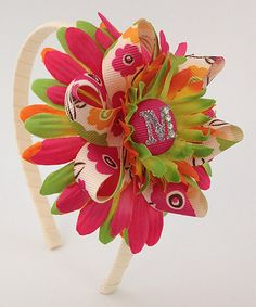 Look what I found on #zulily! Orange & Lime Ruffle Loops Initial Flower Headband #zulilyfinds