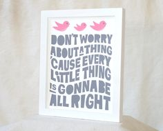 Bob Marley,Typography Poster, Rasta Nursery Art Print, Don't Worry, Three little Birds, Music Print on Etsy, $20.00
