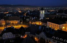 Sibiu by night, Transylvania, Romania photo on Sunsurfer Places Around The World, Around The Worlds, Sibiu Romania, Night Scenery, Transylvania Romania, Exotic Places, What A Wonderful World, Wonders Of The World, Paris Skyline