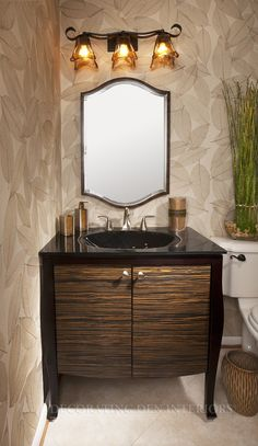Bathroom Framed Wall Mirror And Quirky Lighting Idea Feat Stylish Powder Room Vanity Design Plus Black Countertop - Awesome Small Powder Room Vanity ... & 60 best Exquisite Bathrooms images on Pinterest | Home decor ...