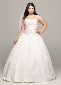 Strapless Mikado Ball Gown with Beaded Accents