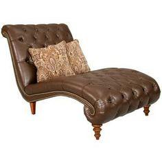 Estates II -Bonded Leather Chenile Plush Caramel Chaise