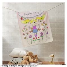 Find Joy in Simple Things Swaddle Blankets. - A positive saying / quote inspiration written on a cloud with a little girl sketch drawing on a swing surrounded with cute birds, a birdhouse, butterflies, flowers and a bee. In pink, blues, and yellow colors. This cute smiling little girl drawing is done in traditional art.