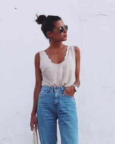 Pair a basic tank with a bralette and jeans for a casual spring look. let daily dress me help you find the perfect outfit for whatever the weather! Street Style Outfits, Casual Outfits, Summer Outfits, Cute Outfits, Fashion Outfits, Womens Fashion, Mom Jeans Outfit Summer, Summer Jeans, Style Fashion