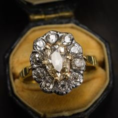 Antique Georgian 2.5ct Old Cut Diamond Cluster Ring in 15k Gold & Silver, c1830 by ButterLaneAntiques on Etsy https://www.etsy.com/listing/519329110/antique-georgian-25ct-old-cut-diamond