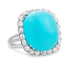 Rose Cut Diamond & Turquoise Ring