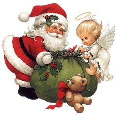 CHRISTMAS SANTA WITH BABY ANGEL AND TEDDY BEAR CLIP ART