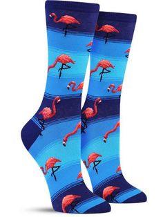 Flamingos Fun Novelty Animal Socks for Women, in Blue Silly Socks, Funky Socks, Blue Socks, Crazy Socks, Cool Socks, Awesome Socks, Happy Socks, Mens Novelty Socks, Sock Animals