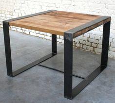 Table+de+séjour+Rc'+Structure+métal,+Plateau+Chêne Style+Industriel