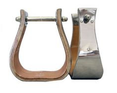 "Monel Wooden Bell Stirrups 4"" Wide Stainless Steel Metal Hand Bound by AJ…"