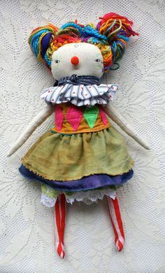 CUSTOM CIRCUS clown dolly for Samantha - rainbow vintage clown little lu style dolly scrap happy rag doll