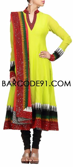 Buy it now http://www.barcode91.com/a-green-anarkali-dress-with-printed-border-and-sequins-work-by-b91-exclusive.html A green anarkali dress with printed border and sequins work by B91 Exclusive