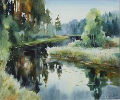 Watercolor Water, Watercolor Landscape Paintings, Watercolor Trees, Landscape Drawings, Watercolor Artists, Watercolor Artwork, Watercolor Portraits, Watercolor Illustration, Landscape Art