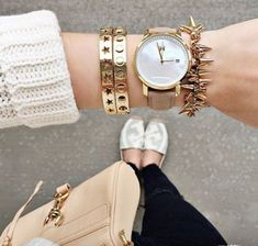 white sweater with stacking bracelets, Stacking bracelets with watches http://www.justtrendygirls.com/stacking-bracelets-with-watches/