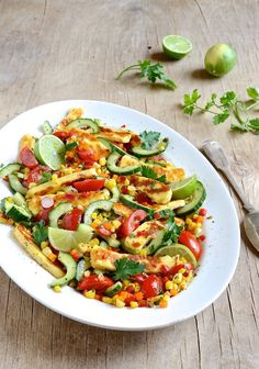 September is National braai day in South Africa and what could be better that a roasted corn and halloumi salad to go with sosaties or rib-eye steak? Fried Halloumi, Halloumi Salad, Salads To Go, Roasted Corn, Stuffed Sweet Peppers, Serving Platters, Cherry Tomatoes, Vegetable Pizza, Pasta Salad