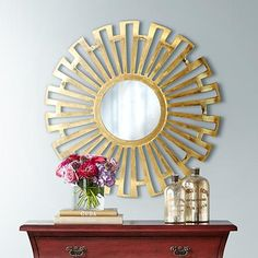 A hand-finished sunburst wall mirror with a convex metal frame in a bright gold finish. Surrounding frame is 11 at the widest point. Style # at Lamps Plus. Large Round Mirror, Round Mirrors, Living Room Decor, Bedroom Decor, Home Accents, Seasonal Decor, Entryway Decor, Home Accessories, Wall Mirror