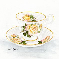Tea cup and saucer with yellow rose, watercolor painting by artist Carol Moore.