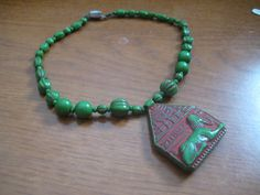 Egyptian Revival Max Neiger Sphinx Cartouch Choker in Green with Red Accents on Etsy, $100.00
