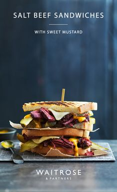 Salted brisket with Swiss cheese and tangy pickles makes a delightful sandwich combination. Top with a dollop of mustard sauce for added sweetness and sandwich between toasted white bread. See the full recipe on the Waitrose website. No Salt Recipes, Beef Recipes, Cooking Recipes, Recipies, Beef Sandwich, Sandwich Recipes, Salted Beef Recipe, Bonfire Night Food, Waitrose Food