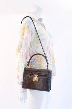 2394a95cf7c Rare Vintage 60 s GUCCI Brown Crocodile Handbag. Rice and Beans Vintage