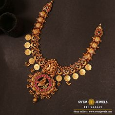 Elegant look your traditional wearing this yellow gold long necklace studded with kemp Stones,Ruby,Emerald, Uncut diamond and hung gold balls. Indian Gold Jewellery Design, Gold Temple Jewellery, Silver Jewellery, Gold Earrings Designs, Necklace Designs, Ruby Jewelry, India Jewelry, Gold Jewelry Simple, Short Necklace