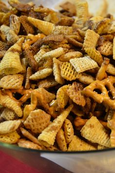 Chex mix!! The old favorite with some twists, so easy and delicious. Make it for Christmas!