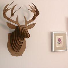 Buck Jr Medium Deer Trophy – Brown from Cardboard Safari - (Save Animal Head Decor, Animal Heads, Used Cardboard Boxes, Diy Cardboard, Safari, Cardboard Animals, Eco Furniture, Cardboard Furniture, Reindeer Head