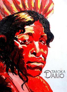 Retrato de indígena brasileiro em tinta acrílica feito pelo ilustrador Dario Taboka.