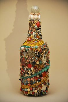 Vintage Anonymous Folk Art Outsider OOAK Jeweled by DownHomeDeco, $80.00