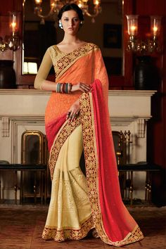 Cream #orange and red #georgette #saree with net blouse  http://www.andaazfashion.fr/womens/sarees/cream-orange-and-red-georgette-saree-with-net-blouse-dmv8443-23822.html
